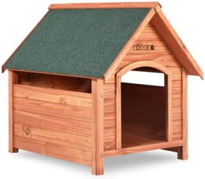 Cadoca XXL Hundehütte, Hundehaus aus Echtholz mit Spitzdach, Wetterfest