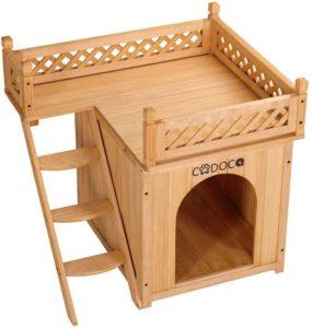 Deuba Cadoca Hundehütte mit Balkon und Treppe