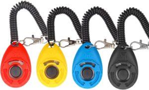 Diyife Hunde Clicker, 4 Stück Trainings-Clicker mit Handschlaufe, Hundeerziehung, Hundetraining