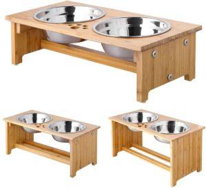 FOREYY erhöhte Hundeschüsseln für Hunde zur Futterumstellung, 2 Schüsseln aus Edelstahl, mit Bambus-Halter und rutschfesten Füßen
