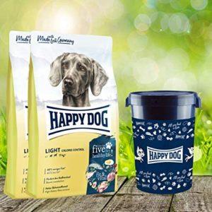 Happy Dog Futtertonne 43 Liter + 2 x 12 kg Fit & Vital Light Calorie Control Trockenfutter
