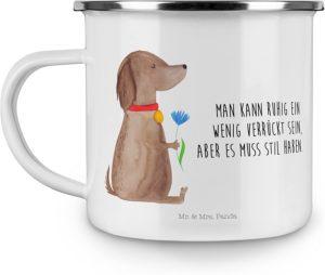Motivtasse Hund mit Blume und Zitat