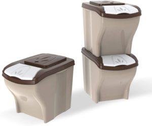 PETGARD Futterbehälter, Futtertonne, stapelbares 3er Set, 3 x 20 Liter
