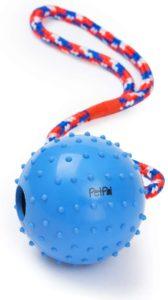 PetPäl Ball mit Seil, Wurfball aus Naturkautschuk