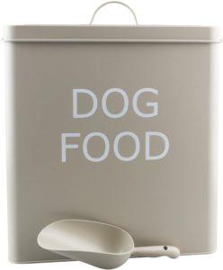 Retro Hundefutterdose, Vintage-Look, dichtem Deckel und Schaufel, Olivefarben, XL