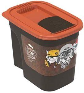 Rotho Flo Hundefutterbox mit Deckel und Klappe, Kunststoff, braun-orange, 2,2 Liter