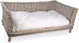 Tommi Hundesofa, Weide, Rattan, Weidenkorb mit Kissen