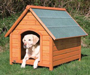 Trixie natura Hundehütte aus Holz mit Satteldach, outdoor