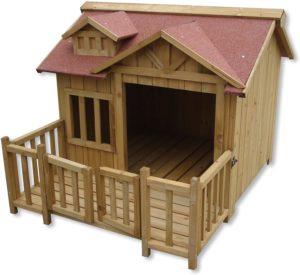 Wiltec Luxus XL Hundehütte aus Fichtenholz mit Terrasse
