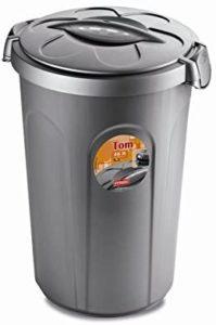 XL Tierfuttertonne, Hundefutter Container, Futtertonne, Kunststoff, 46 Liter, Grau