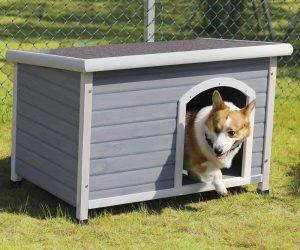 Petsfit Hunde Holzhütte Schrägdach, Schutz im Freien