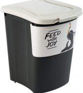 Rotho Archie Großer Hundefutterbehälter 38l mit Deckel, Rollen und Schaufel, Kunststoff (PP) BPA-frei, schwarz/motiv