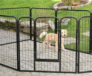 TRESKO® Welpenlaufstall 80x80cm, Freilaufgehege für Hunde mit Tür und wetterfest Hundezaun