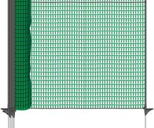 VOSS.farming Mobiler Hundezaun, 20m lang, Höhe 80cm, 12 Pfähle, dunkelgrün, Welpenzaun