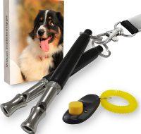 Villkin Hundepfeife, Clicker, Schlüsselband und E-Book Schwarz-Silber Einstellbare Frequenz